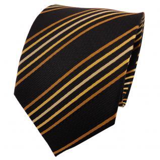 TigerTie Seidenkrawatte gelb gold schwarz gestreift - Krawatte Seide Tie