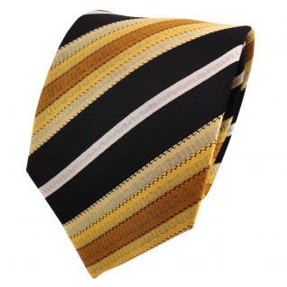 TigerTie Seidenkrawatte gold gelb braun silber schwarz gestreift - Krawatte Tie