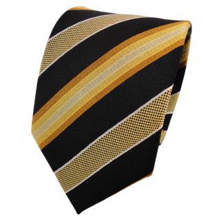 TigerTie Seidenkrawatte gold gelb silber schwarz gestreift - Krawatte Seide Tie