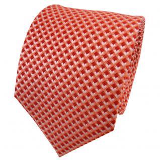 TigerTie Seidenkrawatte orange rotorange silber kariert - Krawatte Seide Binder