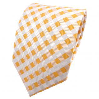 TigerTie Seidenkrawatte gelb signalgelb weiß kariert - Krawatte Seide Binder