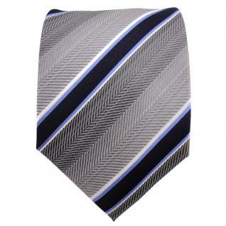Krawatte Seide TigerTie Designer Seidenkrawatte blau kobaltblau weiß gestreift