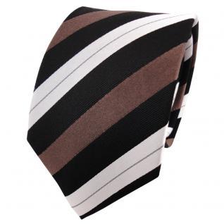 TigerTie Seidenkrawatte braun schwarz silber gestreift - Krawatte Seide Binder