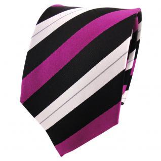 TigerTie Seidenkrawatte magenta violett schwarz silber gestreift- Krawatte Seide