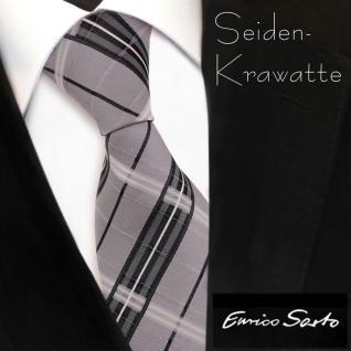 Enrico Sarto hochwertige Seidenkrawatte grau anthrazit silber kariert - Krawatte