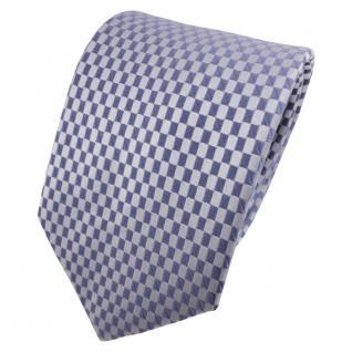 TigerTie Satin Seidenkrawatte blau fernblau blaugrau kariert - Krawatte Seide