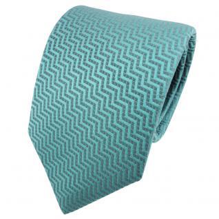 TigerTie Satin Seidenkrawatte türkis türkisblau gemustert - Krawatte Seide Tie