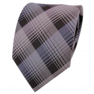 Designer Krawatte blau hellblau grau braun weiß kariert - Schlips Binder Tie