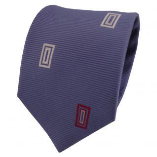 Satin Seidenkrawatte blau fernblau rot creme weiß gemustert - Krawatte Seide
