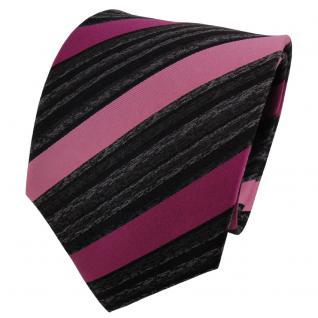 TigerTie Seidenkrawatte magenta rosa anthrazit schwarz gestreift - Krawatte Silk