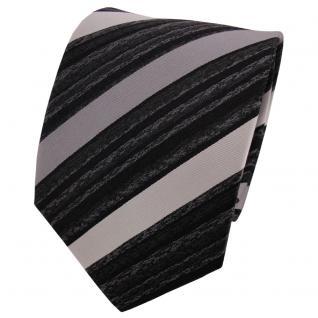 TigerTie Seidenkrawatte silber grau anthrazit schwarz gestreift - Krawatte Seide - Vorschau 1