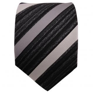 TigerTie Seidenkrawatte silber grau anthrazit schwarz gestreift - Krawatte Seide - Vorschau 2