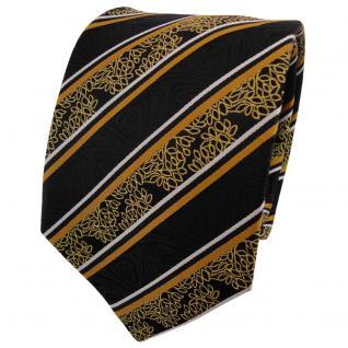 TigerTie Seidenkrawatte gold gelb silber schwarz gestreift - Krawatte Seide