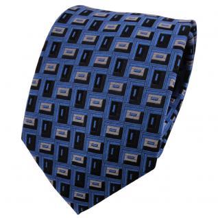 TigerTie Seidenkrawatte blau azurblau schwarz grau gemustert - Krawatte Seide