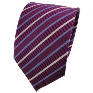 TigerTie Seidenkrawatte magenta fuchsia blau silber gestreift - Krawatte Seide