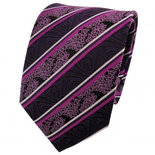 TigerTie Seidenkrawatte lila magenta silber schwarz gestreift - Krawatte Seide