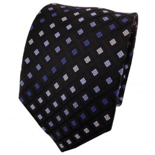 TigerTie Seidenkrawatte blau hellblau royal schwarz gemustert - Krawatte Seide