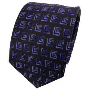 TigerTie Seidenkrawatte blau dunkelblau schwarz gemustert - Krawatte Seide Silk