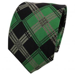 TigerTie Seidenkrawatte grün laubgrün schwarz kariert - Krawatte Seide Binder