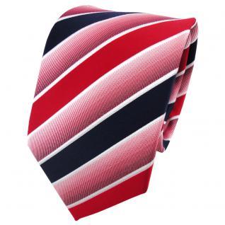 TigerTie Designer Krawatte rot knallrot dunkelblau weiß gestreift - Binder Tie