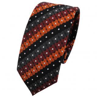 Schmale TigerTie Krawatte orange schwarz anthrazit silber gestreift - Binder Tie