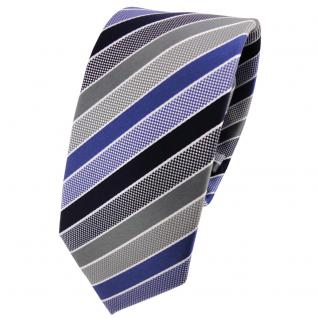 Schmale TigerTie Krawatte blau dunkelblau grau silber gestreift - Binder Tie