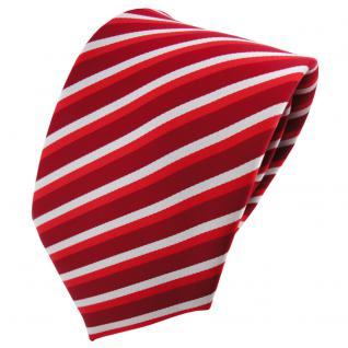 TigerTie Designer Krawatte rot hellrot verkehrsrot silber gestreift - Binder Tie