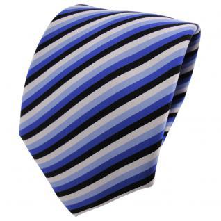 TigerTie Designer Krawatte blau schwarz silber hellblau gestreift - Binder Tie