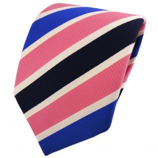 TigerTie Krawatte rosa rosé blau dunkelblau creme gestreift - Binder Tie