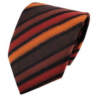 TigerTie Krawatte orange rotorange braun schwarz gestreift - Binder Schlips Tie