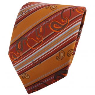 TigerTie Krawatte orange rotorange braun silber grau gestreift - Binder Schlips