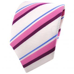 TigerTie Satin Krawatte weiß signalweiß rosa magenta blau gestreift - Binder Tie