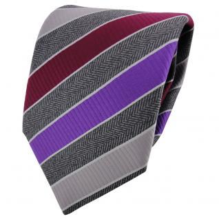 TigerTie Krawatte grau silbergrau anthrazit rot lila gestreift - Binder Schlips