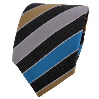TigerTie Krawatte anthrazit grau silber türkis braun gestreift - Binder Schlips