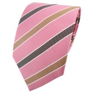 TigerTie Satin Krawatte rosa gold schwarz weiß gestreift - Schlips Binder Tie