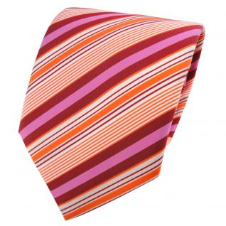 TigerTie Krawatte orange rot rosa creme gestreift - Schlips Binder Tie