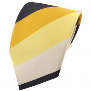 TigerTie Krawatte gelb sonnengelb anthrazit creme gestreift - Schlips Binder Tie