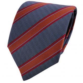 TigerTie Krawatte blau graublau braun kupfer rot gestreift - Schlips Binder Tie