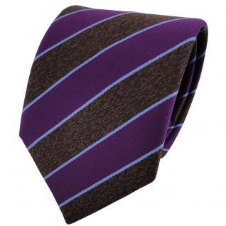 TigerTie Satin Krawatte lila braun dunkelbraun blau gestreift - Binder Schlips