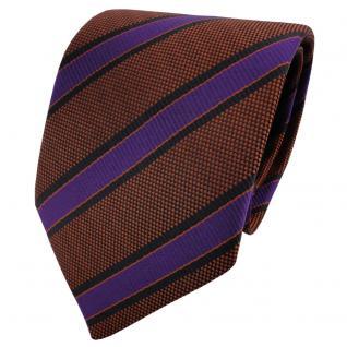 TigerTie Krawatte braun kupferbraun lila schwarz gestreift - Schlips Binder Tie