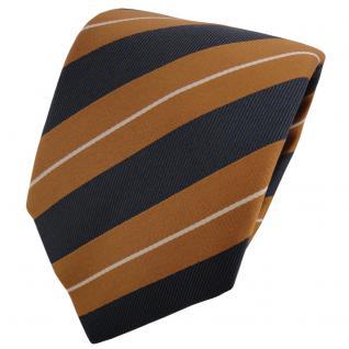 TigerTie Krawatte braun ockerbraun anthrazit beige gestreift - Schlips Binder