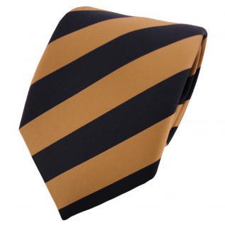 TigerTie Satin Krawatte gold schwarz gestreift - Binder Tie Schlips