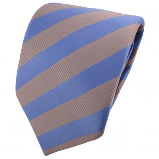 TigerTie Satin Krawatte blau pastellblau silber grau gestreift - Binder Schlips