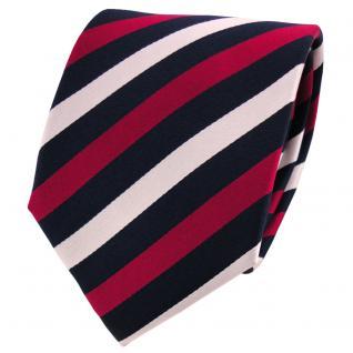 Satin Seidenkrawatte rot karminrot blau silber gestreift - Krawatte Seide Silk