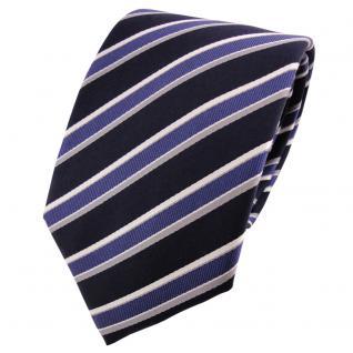 Satin Seidenkrawatte blau dunkelblau grau silber gestreift - Krawatte Seide
