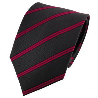 TigerTie Satin Seidenkrawatte anthrazit rot schwarz gestreift - Krawatte Seide