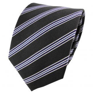 Satin Seidenkrawatte anthrazit blau silber gestreift - Krawatte Seide Tie