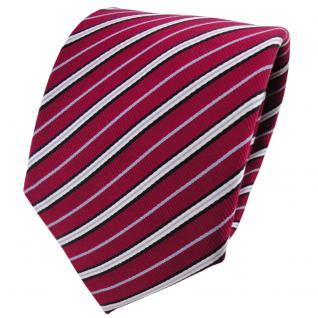 Satin Seidenkrawatte rot rubinrot blau schwarz silber gestreift - Krawatte Seide