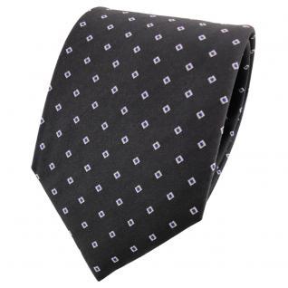 Satin Seidenkrawatte anthrazit blau silber gepunktet - Krawatte Silk Seide Tie