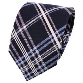 Designer Seidenkrawatte blau dunkelblau silber weiß kariert - Krawatte Seide Tie